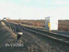 Thumbnail of Man almost hit by train