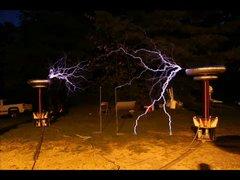Thumbnail of Twin tesla coils play Mario Bros theme song