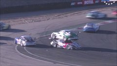 Thumbnail of Porsche balances on other Porsche after crash