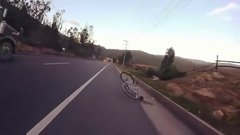 Thumbnail of Cyclist tries to descend like Froome but all goes badly wrong