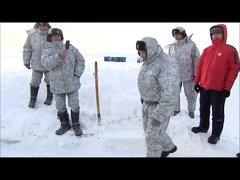 Thumbnail of Russian Paratroopers test new uniform in arctic water