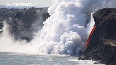 Thumbnail of Lava 'fire hose' sends steam billowing out of Pacific Ocean