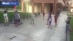 Thumbnail of Children run from tiny dog in hilarious tribute to Running of the Bulls