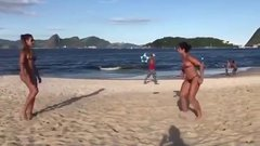 Thumbnail of Just two friends meeting on the beach and playing football