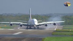 Thumbnail of A380 landing at Düsseldorf airport during storm Xavier