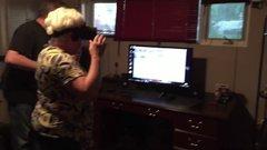 Thumbnail of Grandma loses it on Oculus Rift!