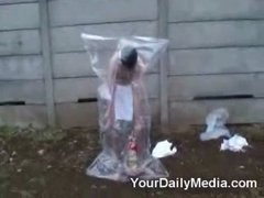 Thumbnail of Fire extinguisher + plastic bag = ???